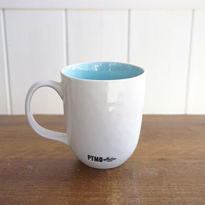 CANO セラムマグカップ ホワイト&ライトブルー
