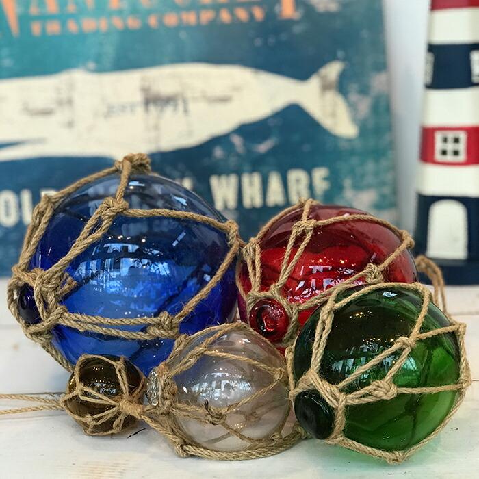浮き玉 浮き球 ガラスブイ 5連
