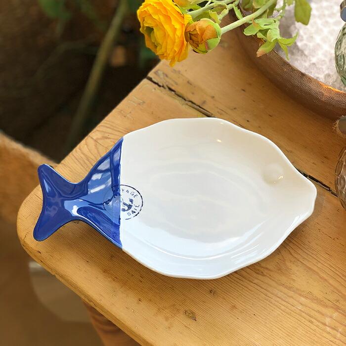 魚型プレート ホワイトブルー Lサイズ
