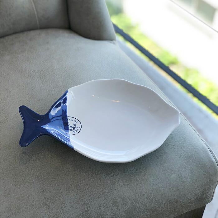 魚型プレート ホワイトブルー Lサイズ01