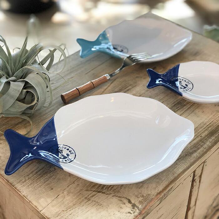 魚型プレート ホワイトブルー Lサイズ03