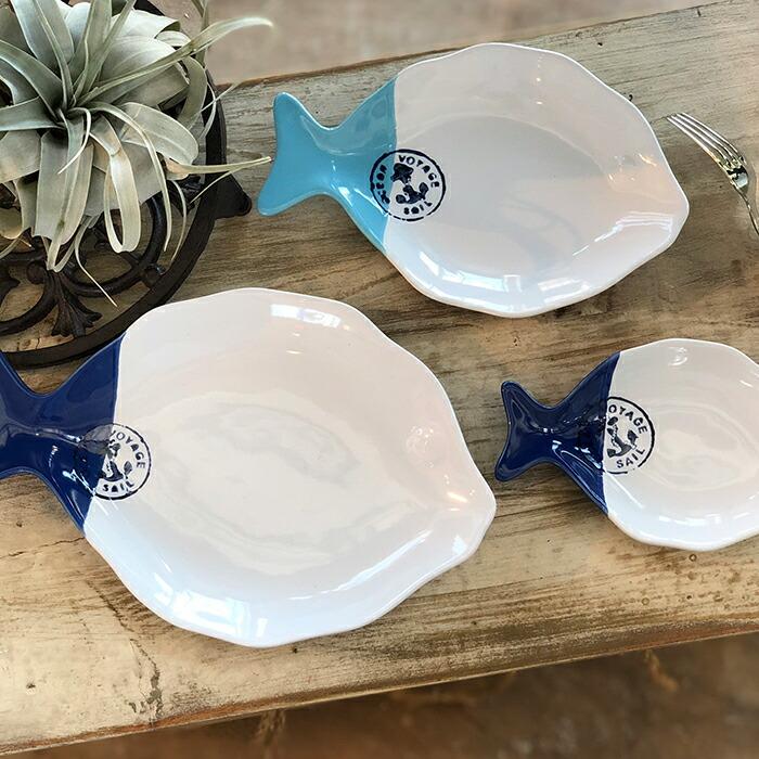 魚型プレート ホワイトブルー Lサイズ06