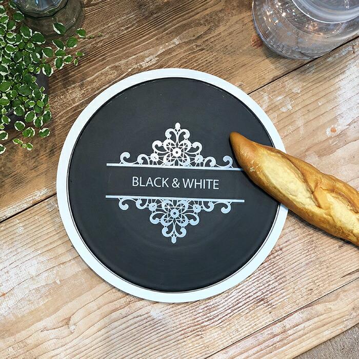 BLACK&WHITE ウッド付きカッティングボード ラウンド