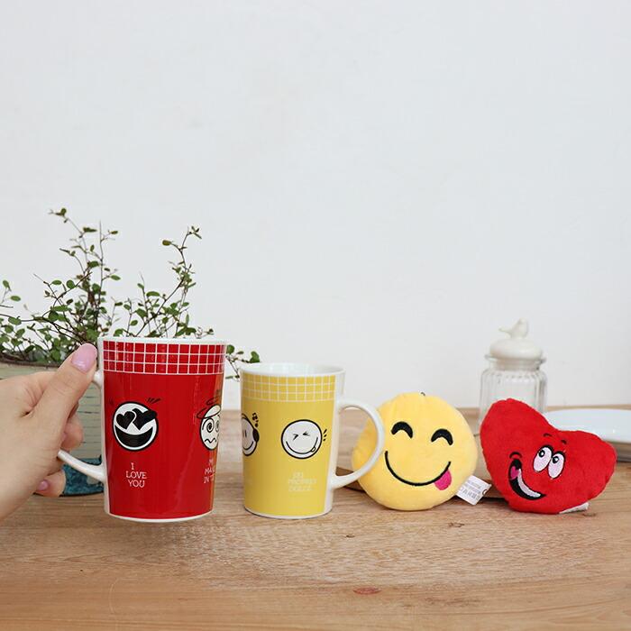 EMOTICON マグカップ ハート&レッド01