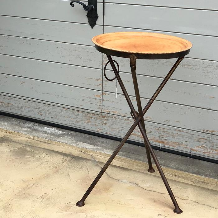 Leather ラウンドフォールディングテーブルS/ナチュラルブラウン