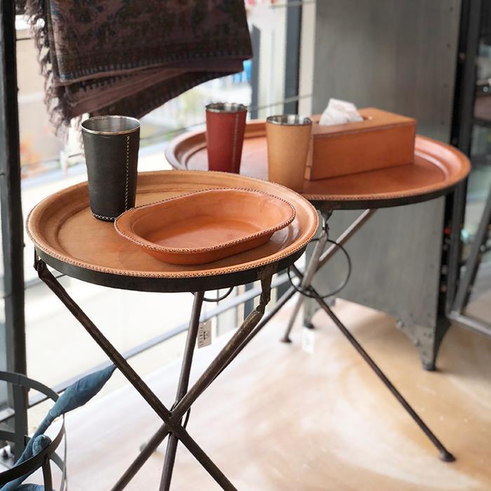 Leather ラウンドフォールディングテーブルS/ナチュラルブラウン10