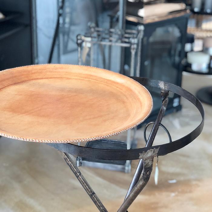 Leather ラウンドフォールディングテーブルS/ナチュラルブラウン06