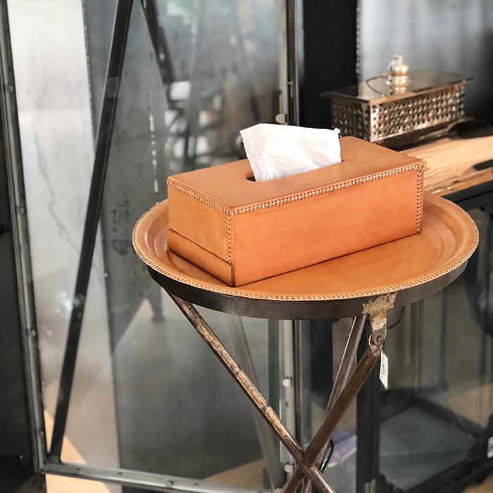 Leather ラウンドフォールディングテーブルS/ナチュラルブラウン08