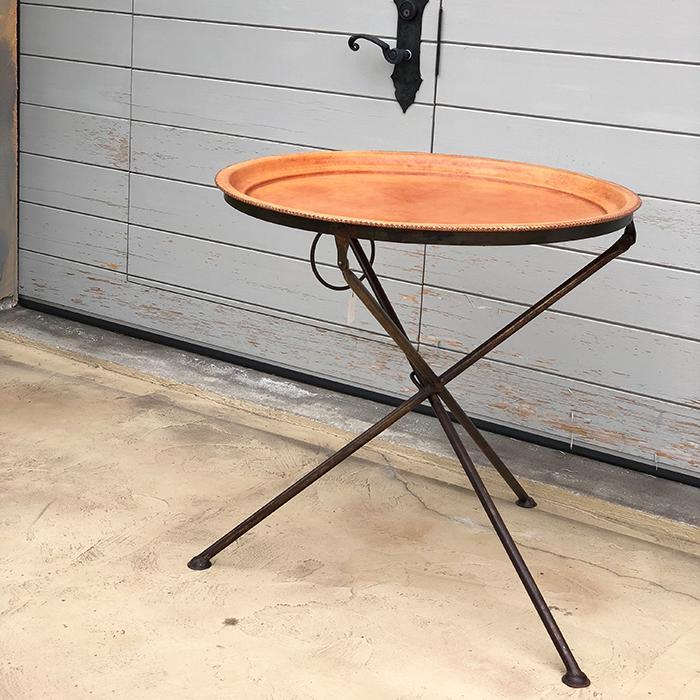 Leather ラウンドフォールディングテーブルM/ナチュラルブラウン