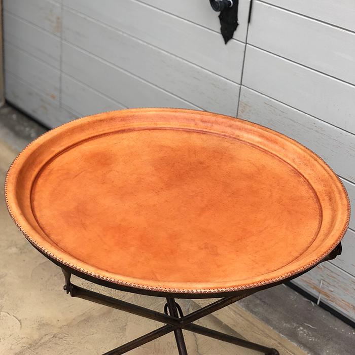 Leather ラウンドフォールディングテーブルM/ナチュラルブラウン01