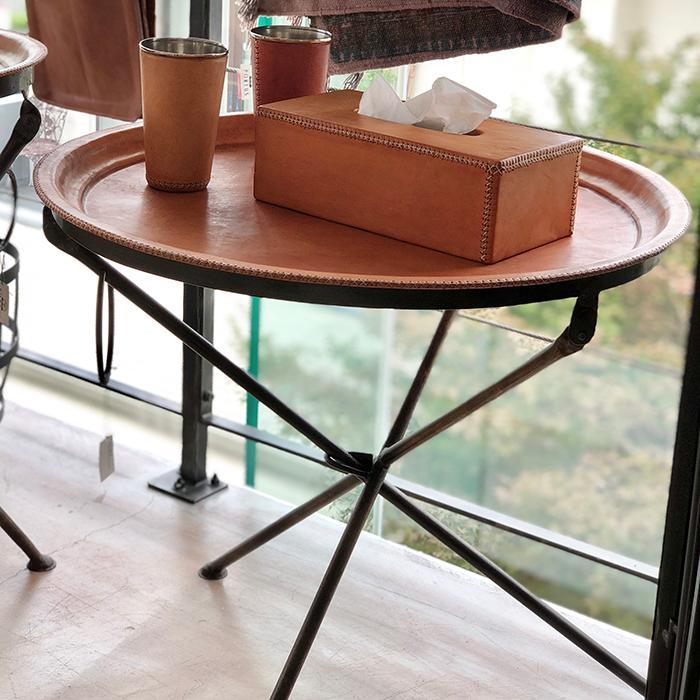 Leather ラウンドフォールディングテーブルM/ナチュラルブラウン06