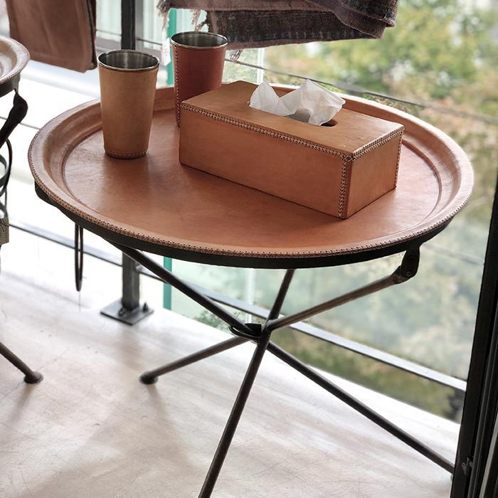 Leather ラウンドフォールディングテーブルM/ナチュラルブラウン07