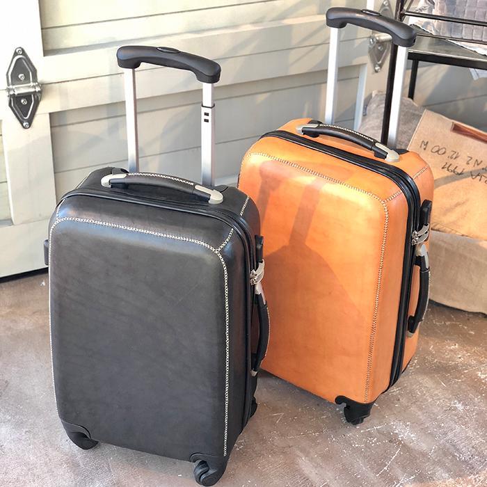 レザー張り スーツケース ブラック