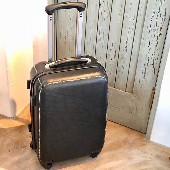 レザー張り スーツケース ブラック15