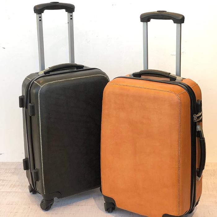 レザー張り スーツケース ブラック02