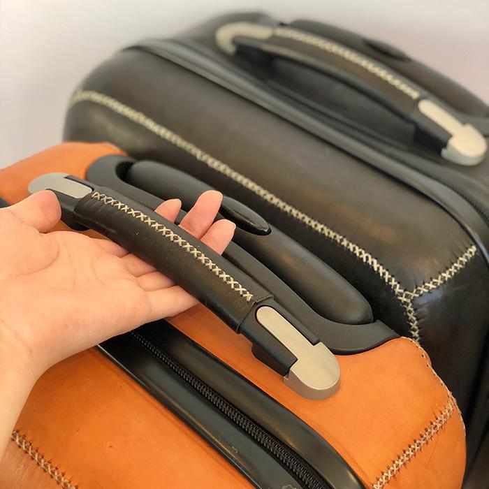 レザー張り スーツケース ブラック04