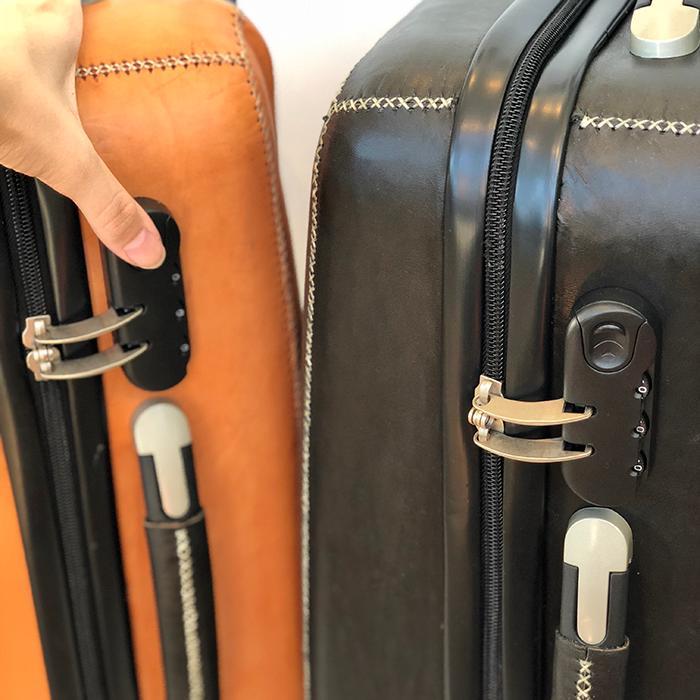 レザー張り スーツケース ブラック05