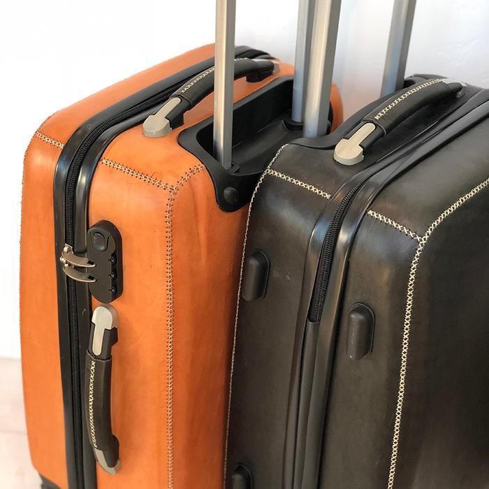 レザー張り スーツケース ブラック07
