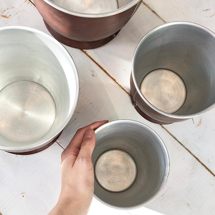 レザー張り ポット 鉢カバーXS ブラウン01