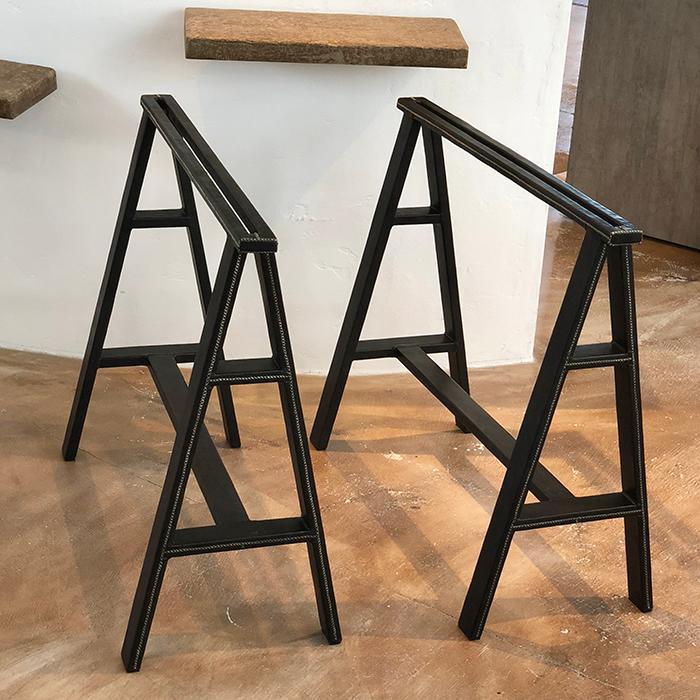 レザー張り テーブル脚 ブラック 2脚セット