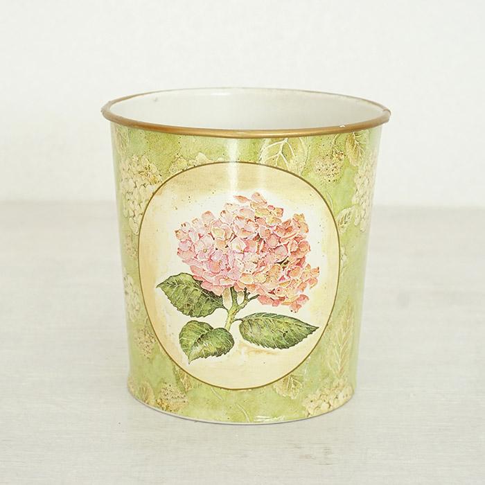 花びん 花瓶 花器 ポット ピンクアジサイ柄 グリーン