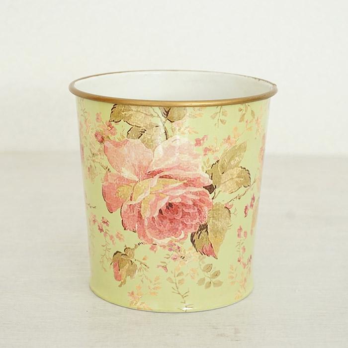 花びん 花瓶 花器 ポット ピンクローズ柄 グリーン