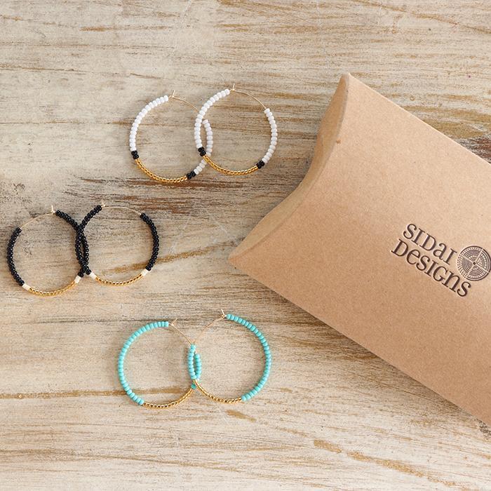Endito Collection スモールフープピアス ブラック06