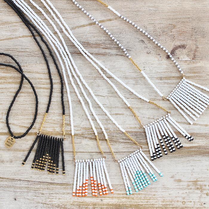Porcupine Collection タッセルネックレス ゴールド&ブラック01