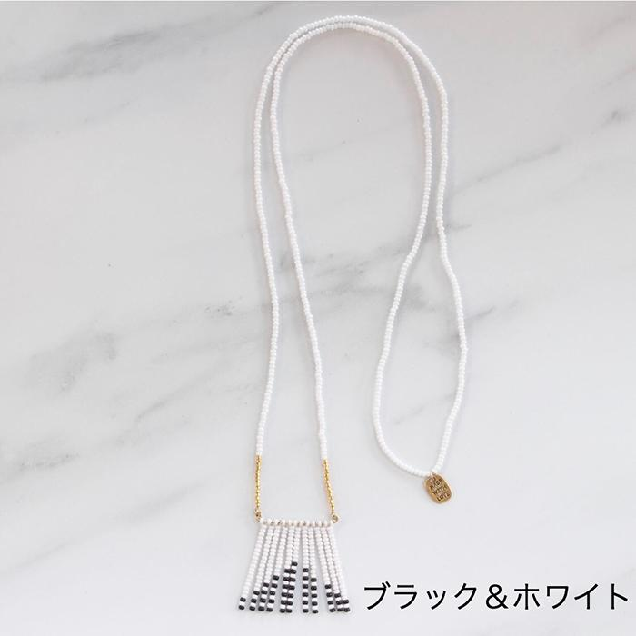 Porcupine Collection タッセルネックレス ブラック&ホワイト01