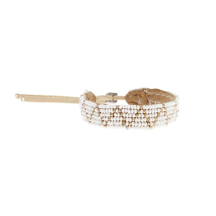 Sipolio Collection ジグザグレザーブレスレット ホワイト