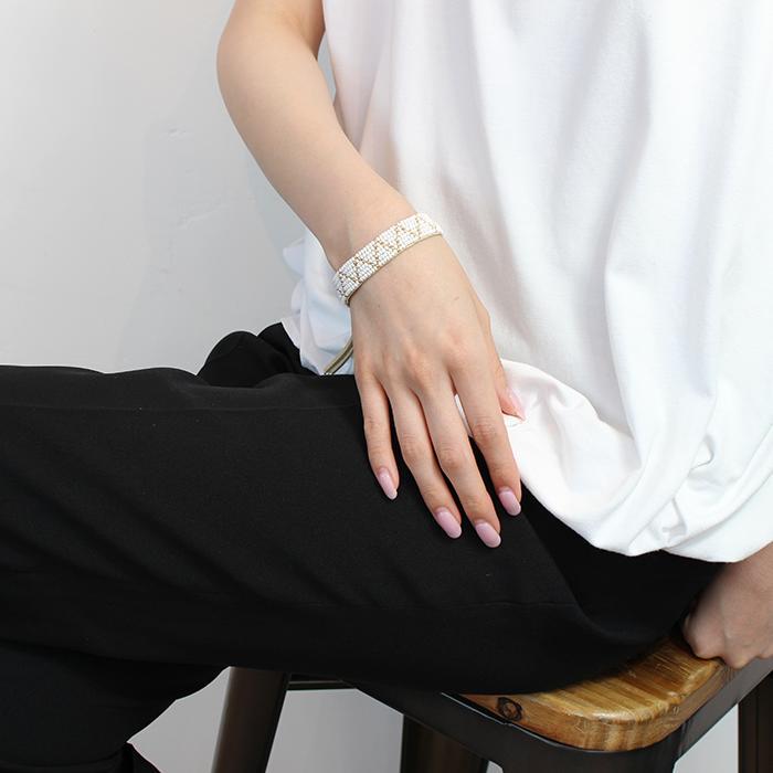 Sipolio Collection ジグザグレザーブレスレット ホワイト03