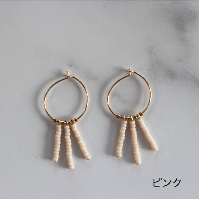 Kisongo Collection 3ドロップフープピアス ピンク04