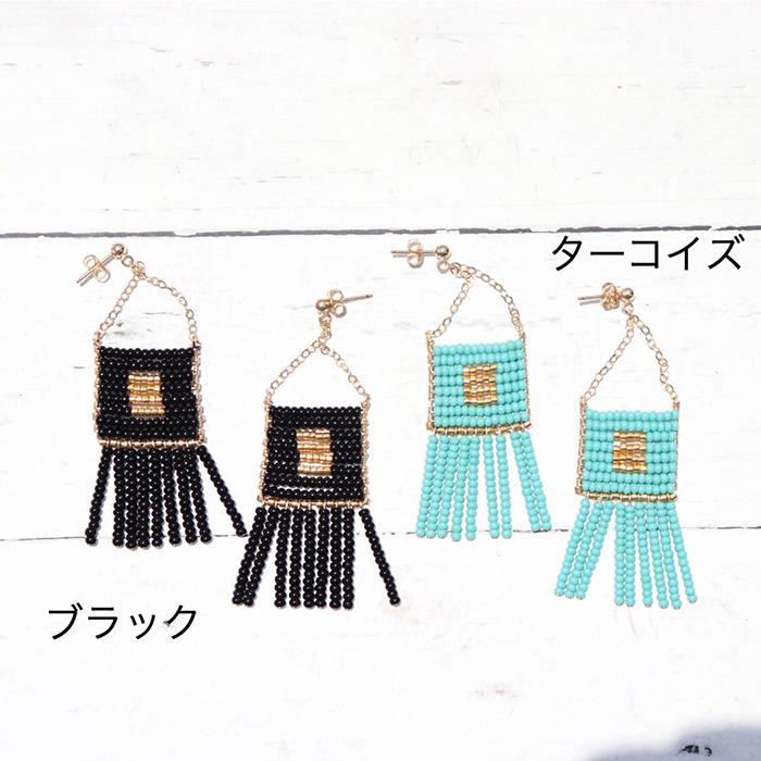 Kisongo Collection ビーズタッセルピアス ブラック09