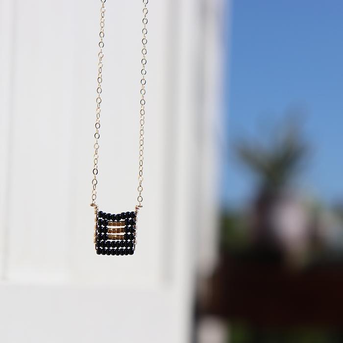Kisongo Collection ブロックペンダントネックレス ブラック04