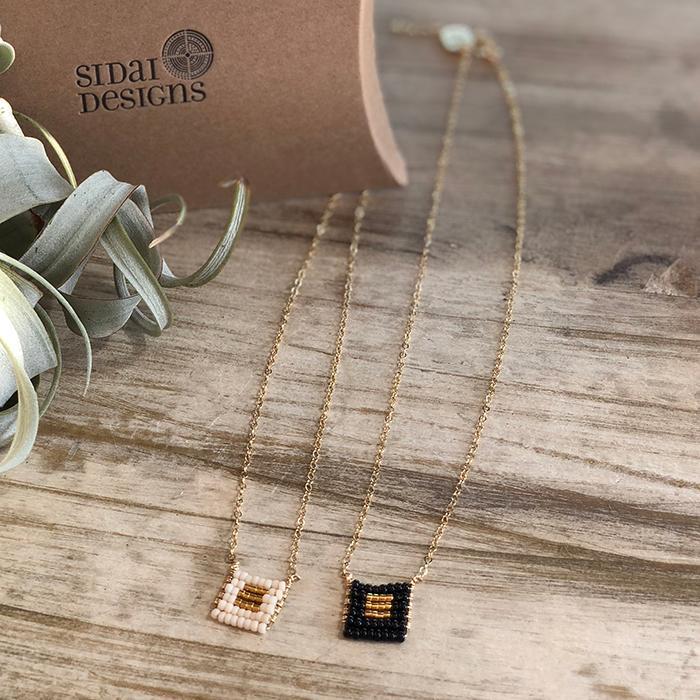 Kisongo Collection ブロックペンダントネックレス ブラック05