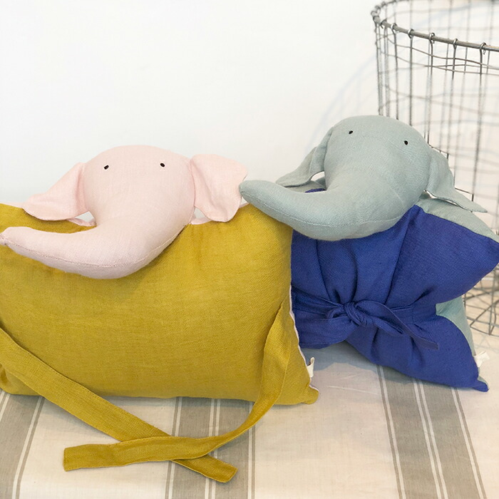 DOUDOU エレファント クッションピンク&イエロー10
