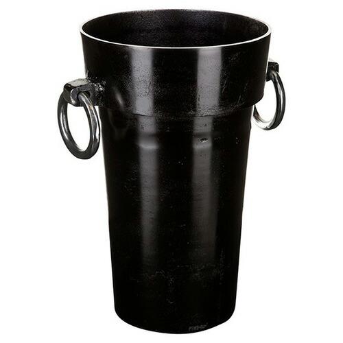 花びん 花瓶 花器 ブラック Sサイズ ハンドル付き 深型
