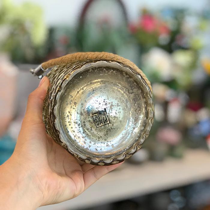 キャンドルスタンド ガラス 銀色 シルバー ロープ ハンドル 持ち手11