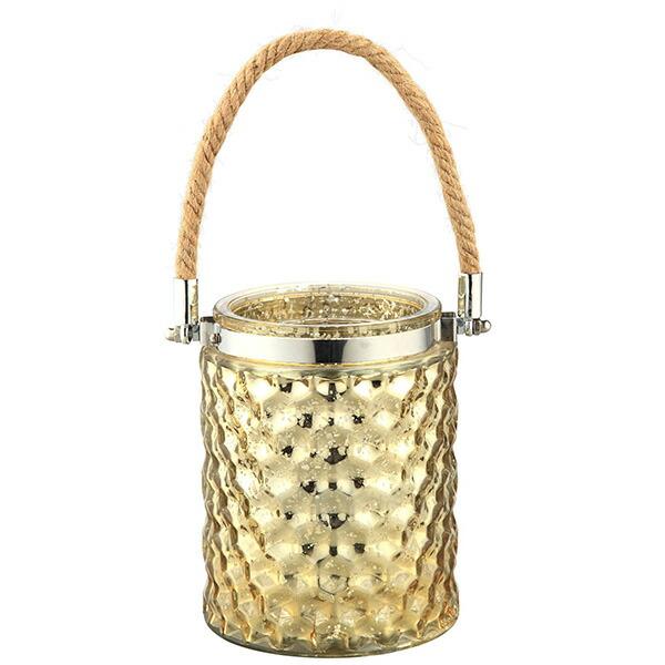 キャンドルスタンド ガラス 金色 ゴールド ロープ ハンドル 持ち手