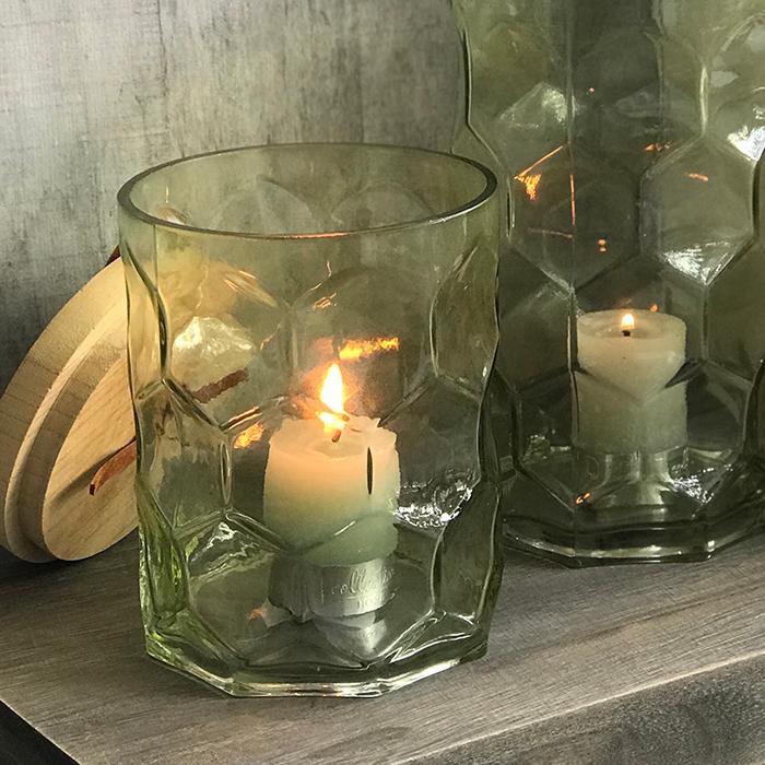 キャンドルスタンドガラスSサイズ緑グリーンランタンケース