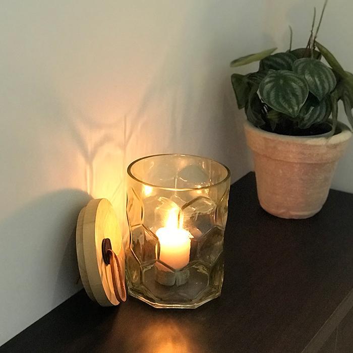 キャンドルスタンドガラスSサイズ緑グリーンランタンケース01
