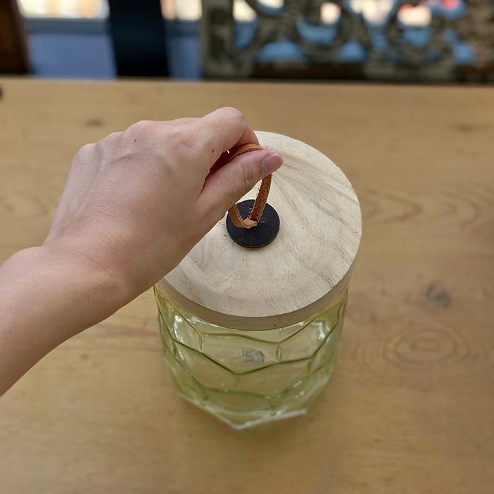 キャンドルスタンドガラスSサイズ緑グリーンランタンケース02