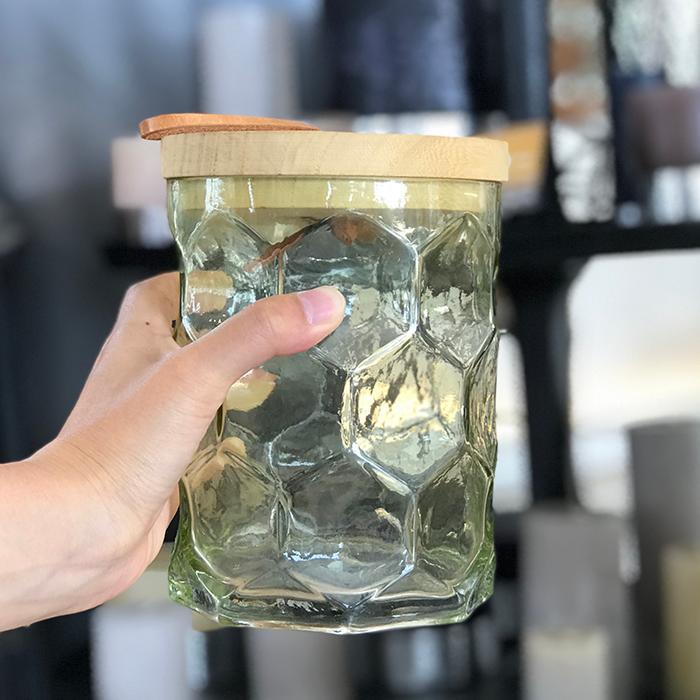キャンドルスタンドガラスSサイズ緑グリーンランタンケース05