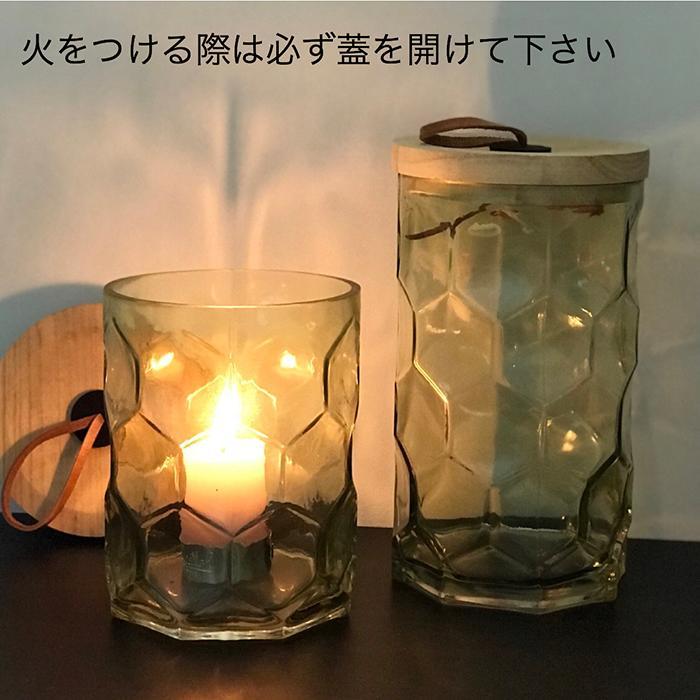 キャンドルスタンドガラスSサイズ緑グリーンランタンケース06