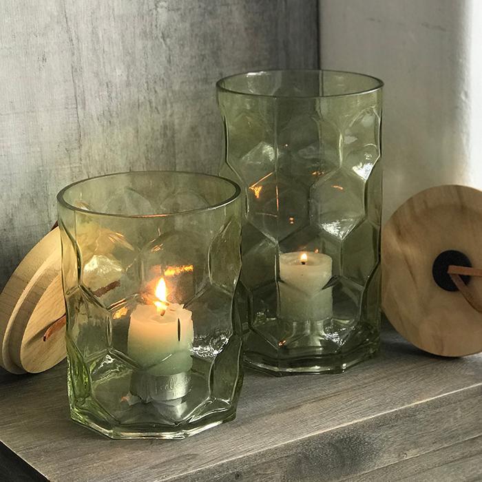 キャンドルスタンドガラスSサイズ緑グリーンランタンケース08