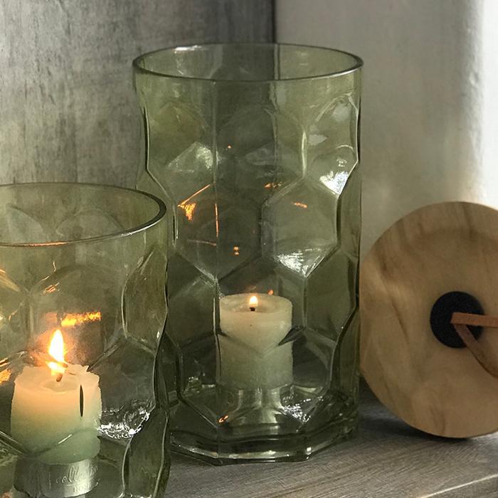 キャンドルスタンドガラスMサイズ緑グリーンランタンケース