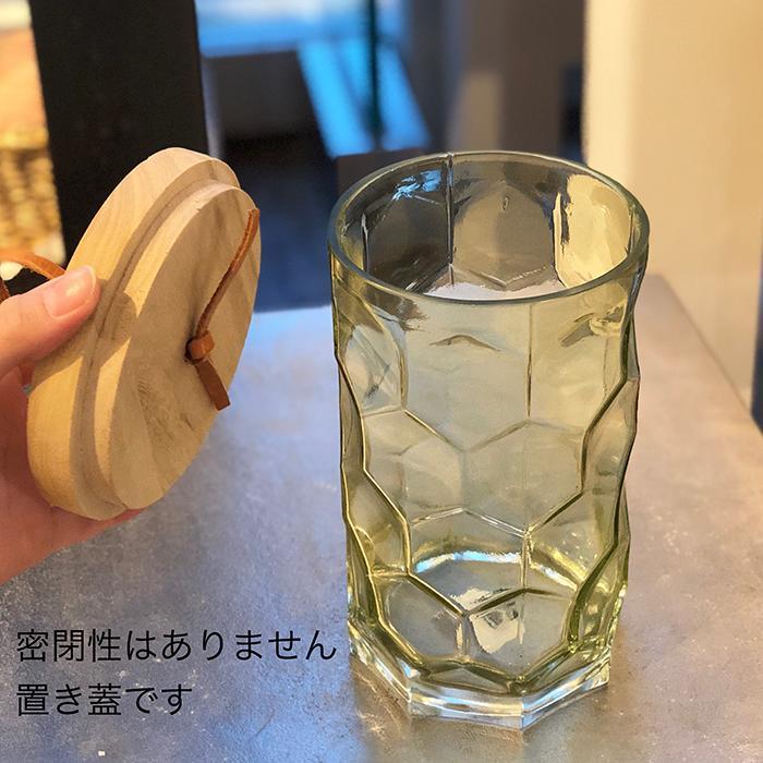 キャンドルスタンドガラスMサイズ緑グリーンランタンケース03