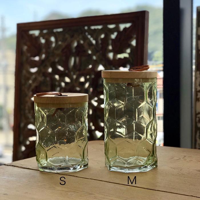 キャンドルスタンドガラスMサイズ緑グリーンランタンケース09