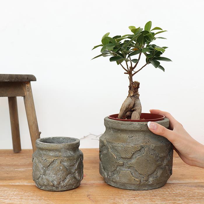 花びん 花瓶 花器 COIZA セメント Sサイズ ブラウン&ゴールド02