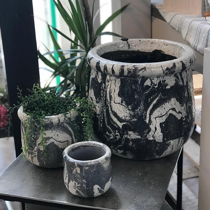 花びん 花瓶 花器 MONO セラミック Mサイズ マーブルブラック01